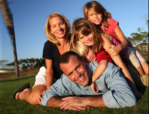 happy family enjoying eco friendly carpet cleaning